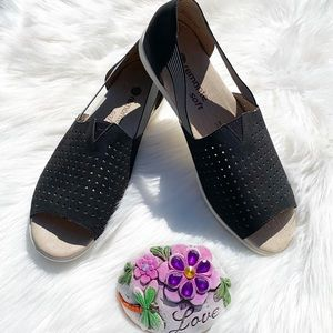 Remonte Soft Black Leather Open Toe Sandal Flats 8